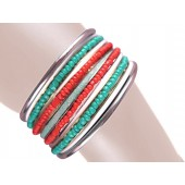 Sandy Stacked Bangle Bracelets Turquois Red White Silver