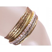Tuscany Stacked Bangle Bracelets Clear Antique Gold