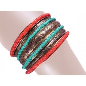 Madrid Stacked Bangle Bracelets Red Turquois Gold