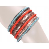 Madrid Stacked Bangle Bracelets Red Turquois Silver