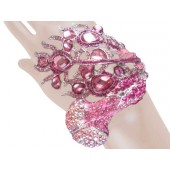 Awesome Peacock Crystal Bangle Bracelet Pink Free Organza Bag
