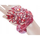 Awesome Peacock Crystal Bangle Red Silver Free Organza Bag