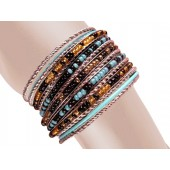 Vera Stacked Bangle Bracelets Turquois Black Silver