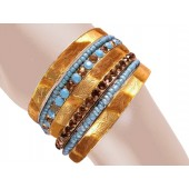 Milano Stacked Animal Print Bangle Bracelets Turquoise Brown