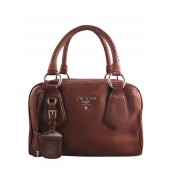 Prada Leather Boston Bag Satchel BL0265 Brown