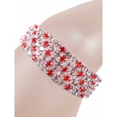 Glamorous Rows Crystal 5 Rows Stretch Bangle Clear Red Silver