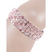 Glamorous Rows Crystal 5 Rows Stretch Bangle Clear Light Pink Silver