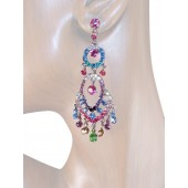 Classic Sense 3.00 inch Crystal Chandelier Earrings Multi Color Silver