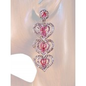 Heartfelt Desire 2.75 inch Crystal Drop Earrings Multi Pink Silver