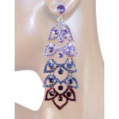 Lush Lavish 3 5/8 inch Crystal Drop Earrings Purple Gold