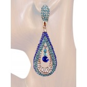 Refine Elegance 3.25 inch Crystal Drop Earrings Multi Blue Silver