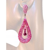Refine Elegance 3.25 inch Crystal Drop Earrings Multi Pink Silver
