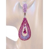 Refine Elegance 3.25 inch Crystal Drop Earrings Pink Silver