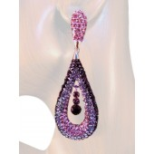 Refine Elegance 3.25 inch Crystal Drop Earrings Multi Purple Silver