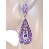 Refine Elegance 3.25 inch Crystal Drop Earrings Purple Lavender Silver