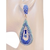 Refine Elegance 3.25 inch Crystal Drop Earrings Sappire Blue Silver