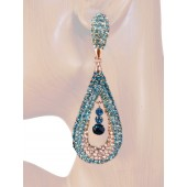 Refine Elegance 3.25 inch Crystals Drop Earrings Blue Teal Silver