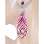 Peacock Fantasy 3 3/8 inch Crystal Drop Earrings Multi Pink Gold