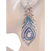 Peacock Fantansy 2 7/8 inch Crystal Drop Earrings Blue Silver