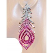 Peacock Fantasy 2.75 inch Crystal Drop Earrings Pink Silver