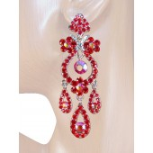 Drama Queen 3.25 inch Crystal Chandelier Earrings Red Silver