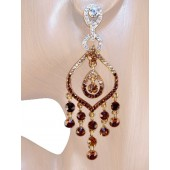 Seductive Splendor 3.25 inch Crystal Chandelier Earrings Topaz Gold