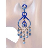 Seductive Splendor 3.25 inch Crystal Chandelier Earrings Blue Silver