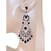 Classic Sense 3.00 inch Crystal Chandelier Earrings Black Gray Silver