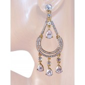 Chic 3.25 inch Swaroski Crystal Chandelier Earrings Clear Gold