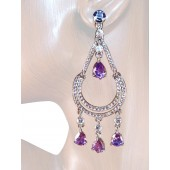 Chic 3.25 inch Swaroski Crystal Chandelier Earrings Multi Silver