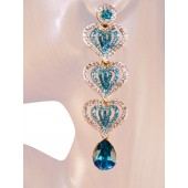 Triple Hearts 3.50 inch Swaroski Crystal Drop Earrings Teal Blue Gold