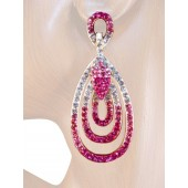 Endless Elegance 2.5/8 inch Crystal Drop Earrings Pink Gold