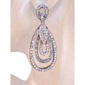 Endless Elegance 2 5/8 inch Crystal Drop Earrings Clear Silver