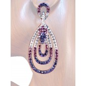 Endless Elegance 2.5/8 inch Crystal Drop Earrings Purple Silver