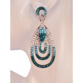 Endless Elegance 2.5/8 inch Crystal Drop Earrings Teal Blue Silver