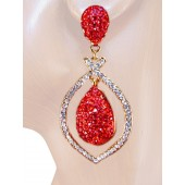 Artful Glamour 2.50 inch Crystals Drop Earrings Red Gold