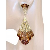 Mesmerizing Glam 3.50 inch Crystal Drop Earrings Topaz Brown Gold