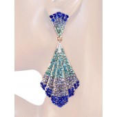 Mesmerizing Glam 3.50 inch Crystal Drop Earrings Sapphire Blue Silver