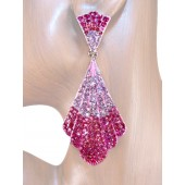 Mesmerizing Glam 3.50 inch Crystal Drop Earrings Pink Silver