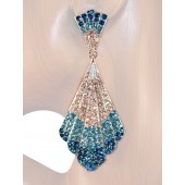 Mesmerizing Glam 3.50 inch Crystal Drop Earrings Teal Blue Silver