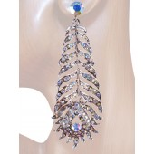 Opulence Beauty 3.50 inch Crystal Drop Earrings Clear Silver