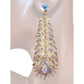 """Opulence Beauty"" 3.50"" Austrian Crystal Drop Earrings Light Gold"