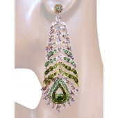 Opulence Beauty 3.50 inch Crystal Drop Earrings Peridot Green Silver