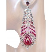 Opulence Beauty 3.50 inch Crystal Drop Earrings Pink Silver