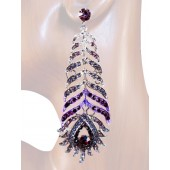 Opulence Beauty 3.50 inch Crystal Drop Earrings Purple Silver