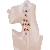 Diva 4.25 inch Crystal Drop Earrings Topaz Brown Gold