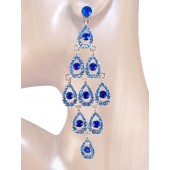 Diva 4.25 inch Crystal Drop Earrings Sappire Blue Silver