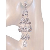 Diva 4.25 inch Crystal Drop Earrings Clear Silver
