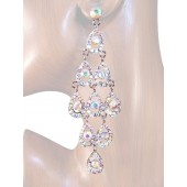 Diva 4.25 inch Crystal Drop Earrings Clear Aurora Borealis Silver