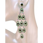 Diva 4.25 inch Crystal Drop Earrings Peridot Green Silver
